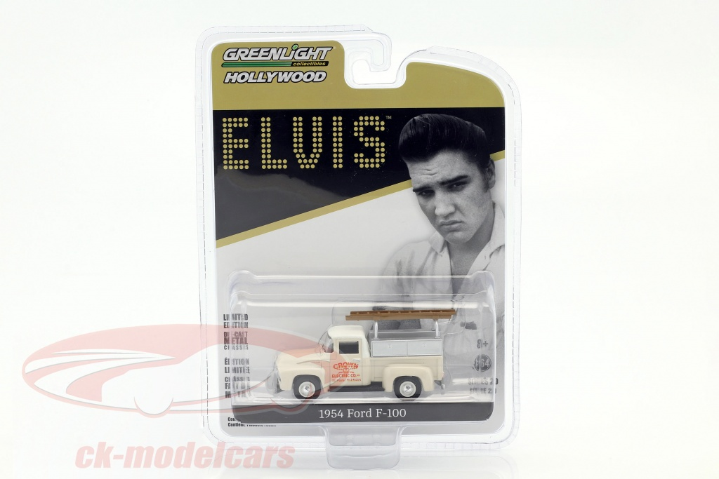 greenlight-1-64-ford-f-100-pick-up-crown-electric-co-construction-year-1954-elvis-presley-white-44800-b/