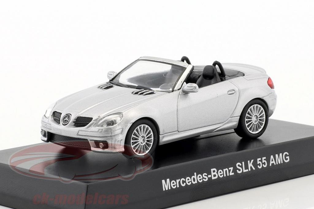 kyosho-1-64-mercedes-benz-slk-55-amg-cabriolet-silver-metallic-ck46127/