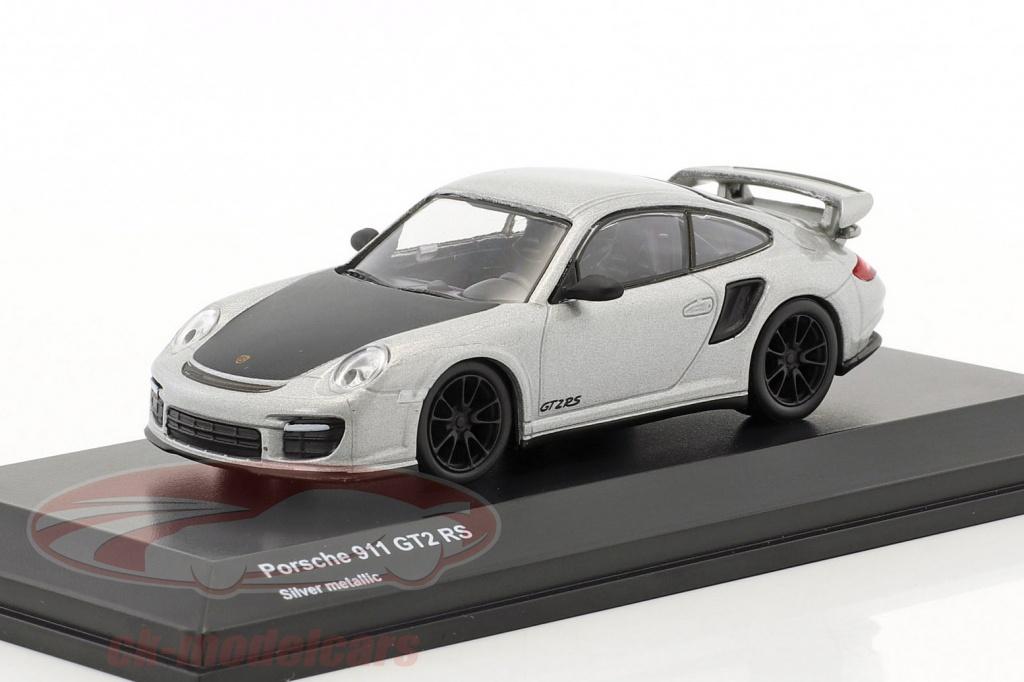kyosho-1-64-porsche-911-gt2-rs-silver-metallic-black-7048a11/