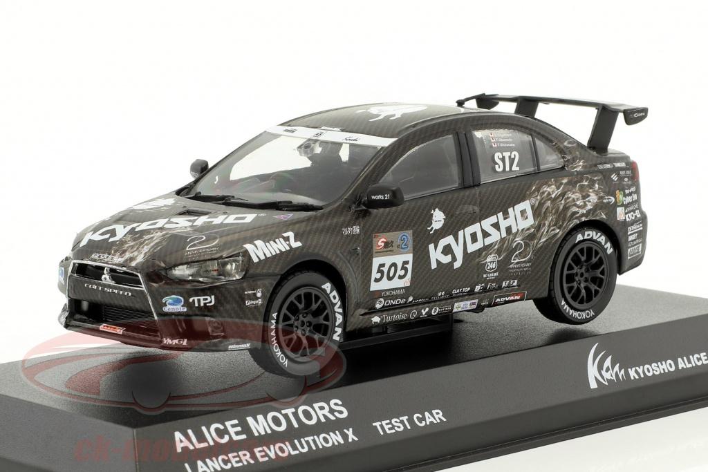 kyosho-1-43-mitsubishi-lancer-evo-x-no505-test-car-alice-motors-2011-3495t/