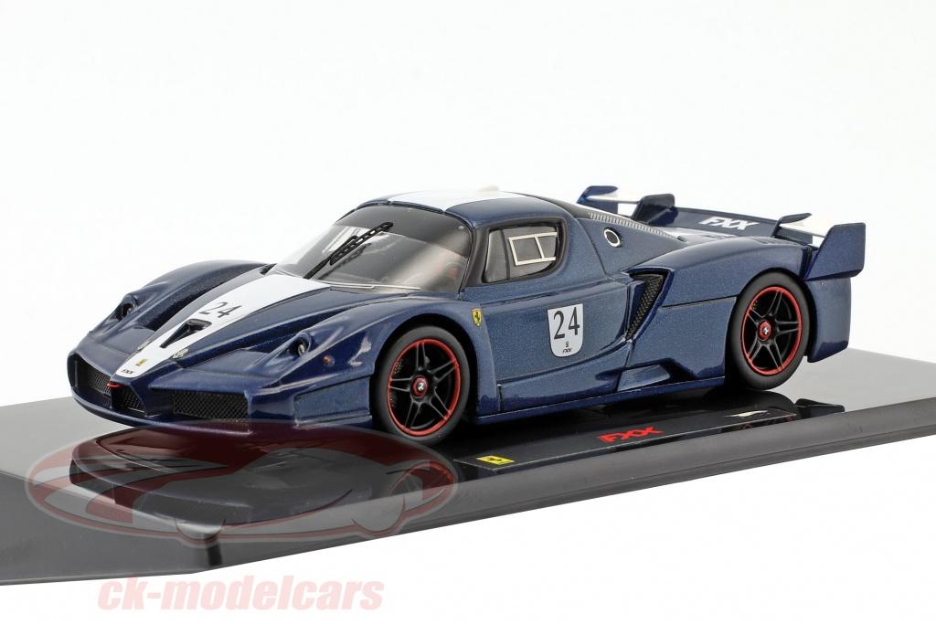 hotwheels-elite-1-43-ferrari-fxx-no24-ano-de-construccion-2006-tour-de-france-azul-con-blanco-rayas-n5606/