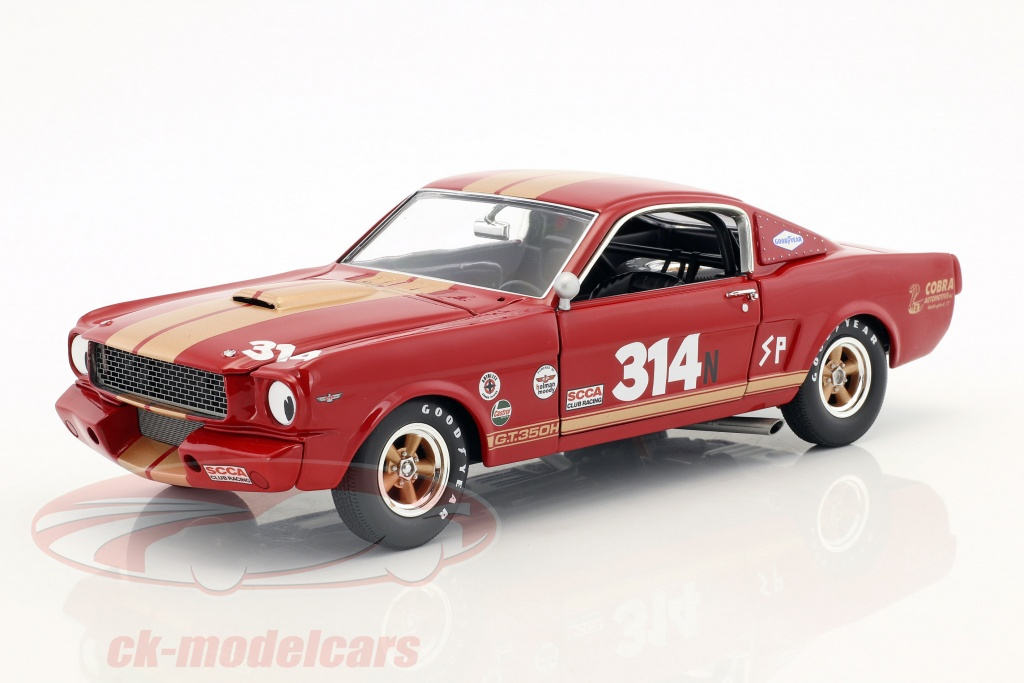 gmp-1-18-ford-mustang-shelby-gt350h-no314-annee-de-construction-1966-rouge-avec-or-rayures-a1801823/
