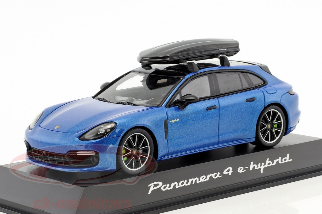 spark-1-43-porsche-panamera-4-e-hybrid-st-with-roof-box-blue-metallic-wax02020061/