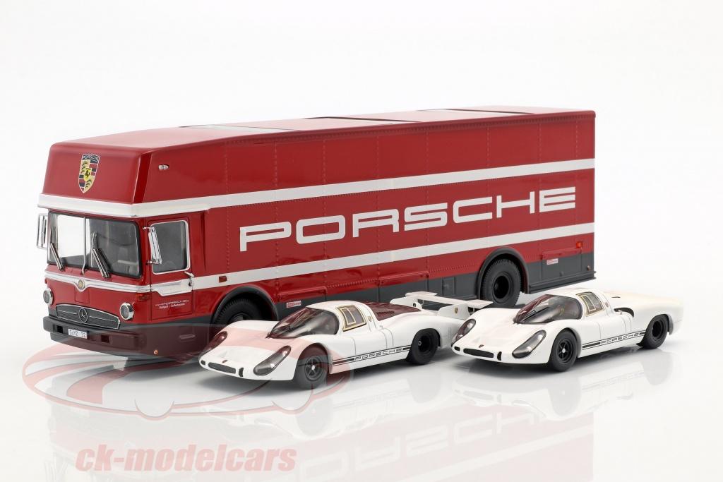 schuco-1-43-3-car-set-70-jahre-porsche-mit-mercedes-benz-o317-renntransporter-und-2x-porsche-908-450372700/