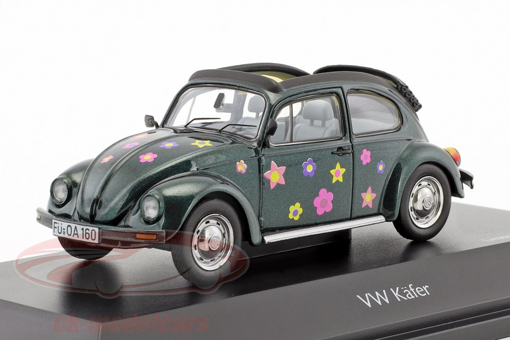 schuco-1-43-volkswagen-vw-coleoptere-open-air-fleur-decor-vert-metallique-450389500/