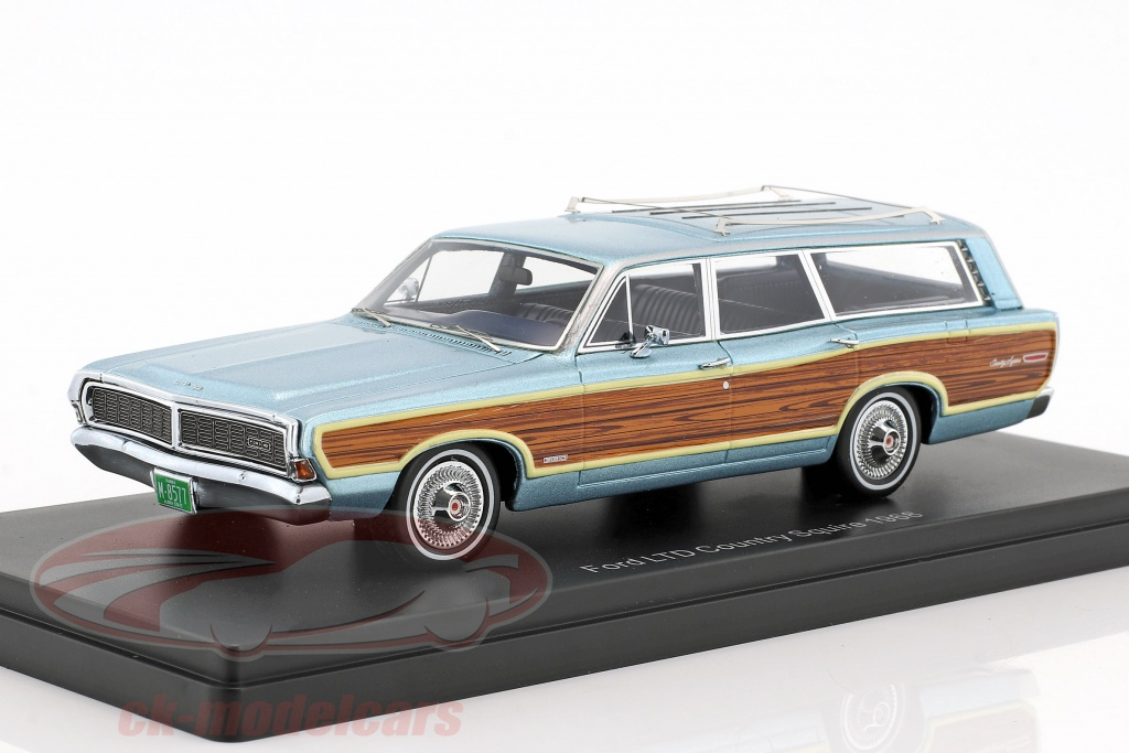 neo-1-43-ford-ltd-country-squire-year-1968-light-blue-metallic-with-wood-look-neo47300/