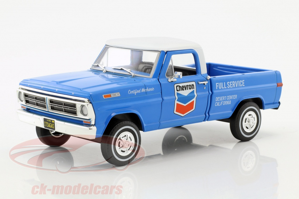 greenlight-1-24-ford-f-100-scegliere-su-chevron-fuel-service-con-copertura-anno-di-costruzione-1972-blu-bianco-85013/