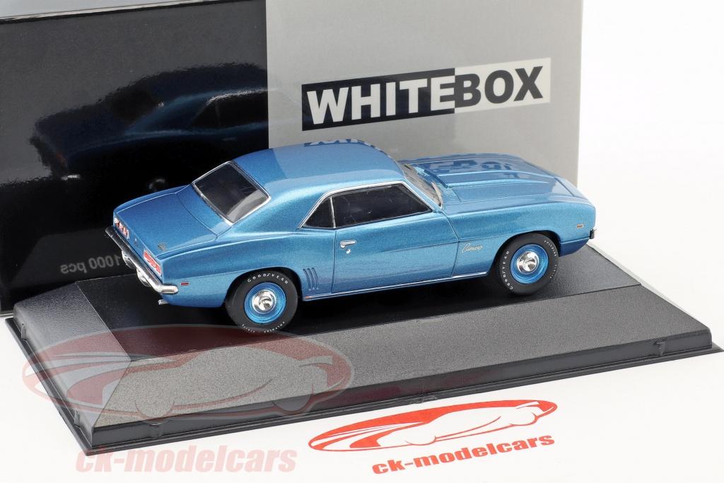 Whitebox 143 Chevrolet Camaro Year 1969 Blue Metallic Blue Rims