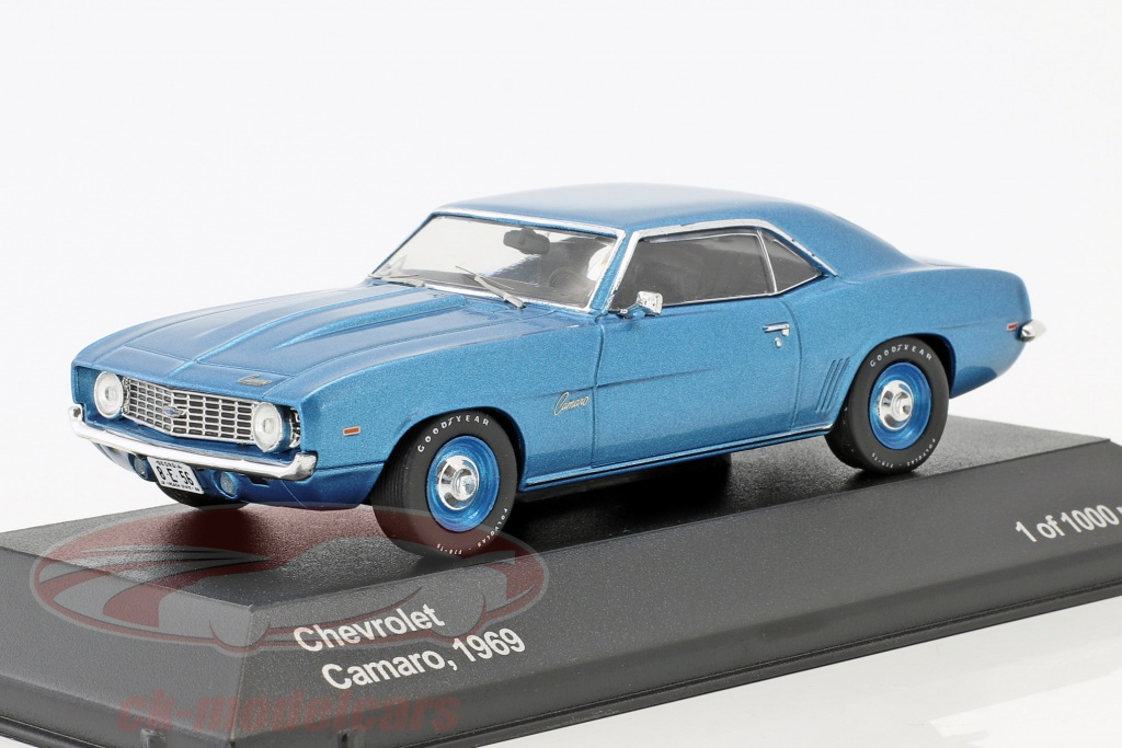 whitebox-1-43-chevrolet-camaro-annee-de-construction-1969-bleu-metallique-bleu-jantes-wb287/