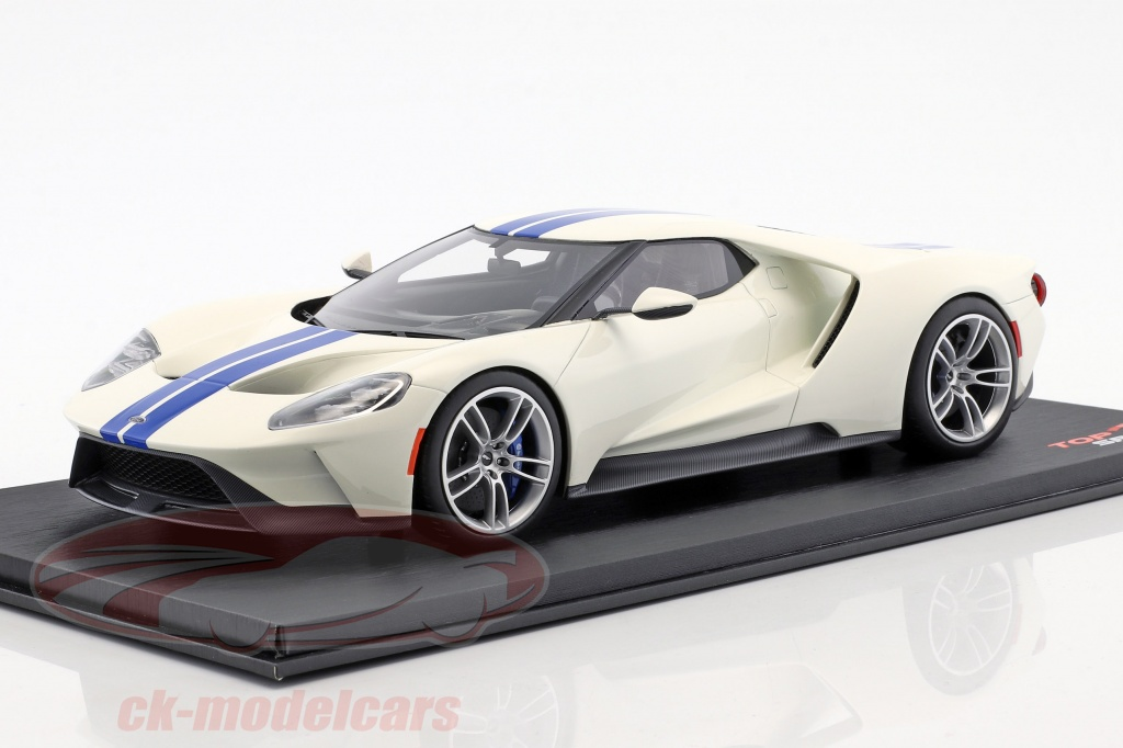 true-scale-1-18-ford-gt-white-with-blue-stripes-ts0093/