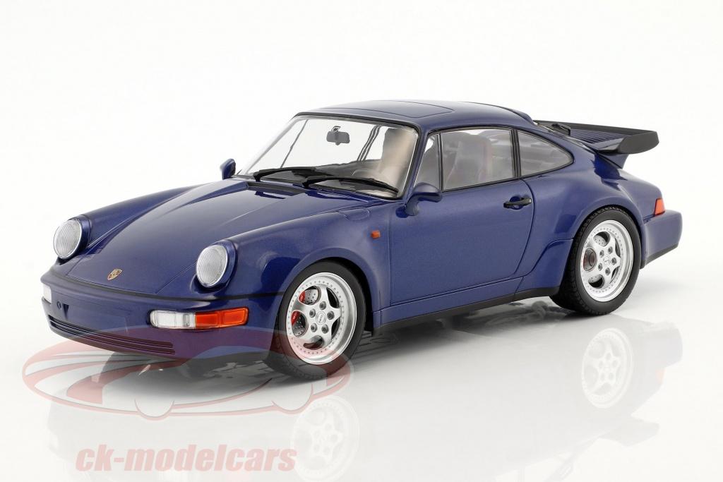 minichamps-1-18-porsche-911-964-turbo-annee-de-construction-1990-bleu-metallique-155069101/