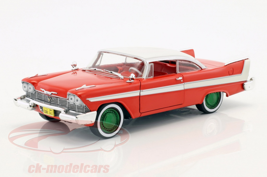 greenlight-1-24-plymouth-fury-opfrselsr-1958-film-christine-1983-rd-hvid-slv-grn-84071-gruene-version/