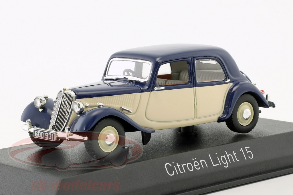 norev-1-43-citroen-light-15-annee-de-construction-1949-bleu-fonce-creme-blanc-153051/
