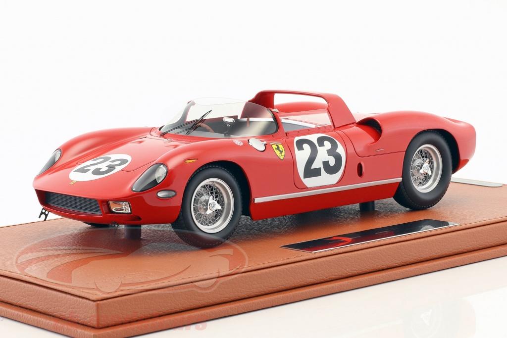 bbr-models-1-18-ferrari-250-p-no23-24h-le-mans-1963-surtees-mairesse-med-udstillingsvindue-bbrc1826dv/