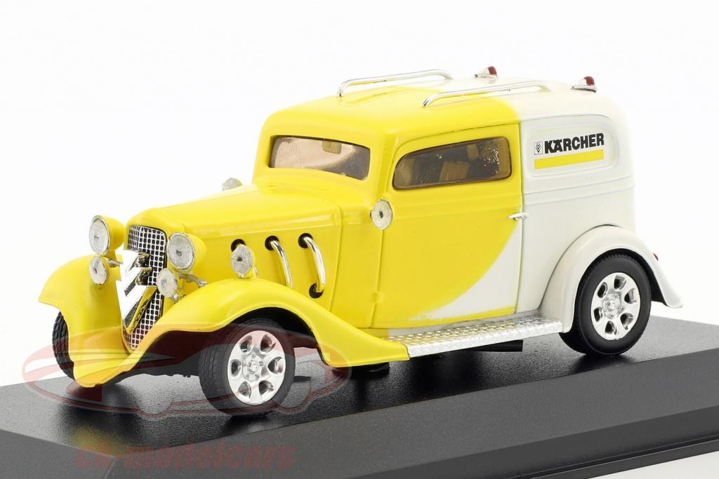 minichamps-1-43-kaercher-yellow-car-hotrod-amarillo-blanco-falso-sobreembalaje-ck50898/