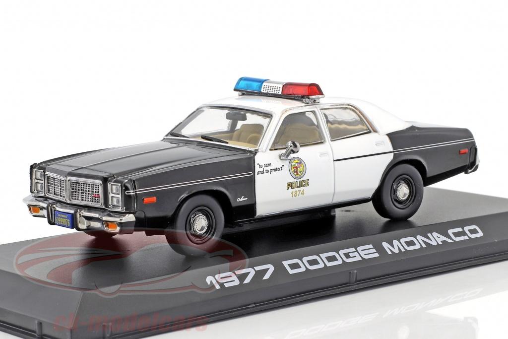 greenlight-1-43-dodge-monaco-metropolitan-police-ano-de-construccion-1977-pelcula-terminator-1984-negro-blanco-86534/