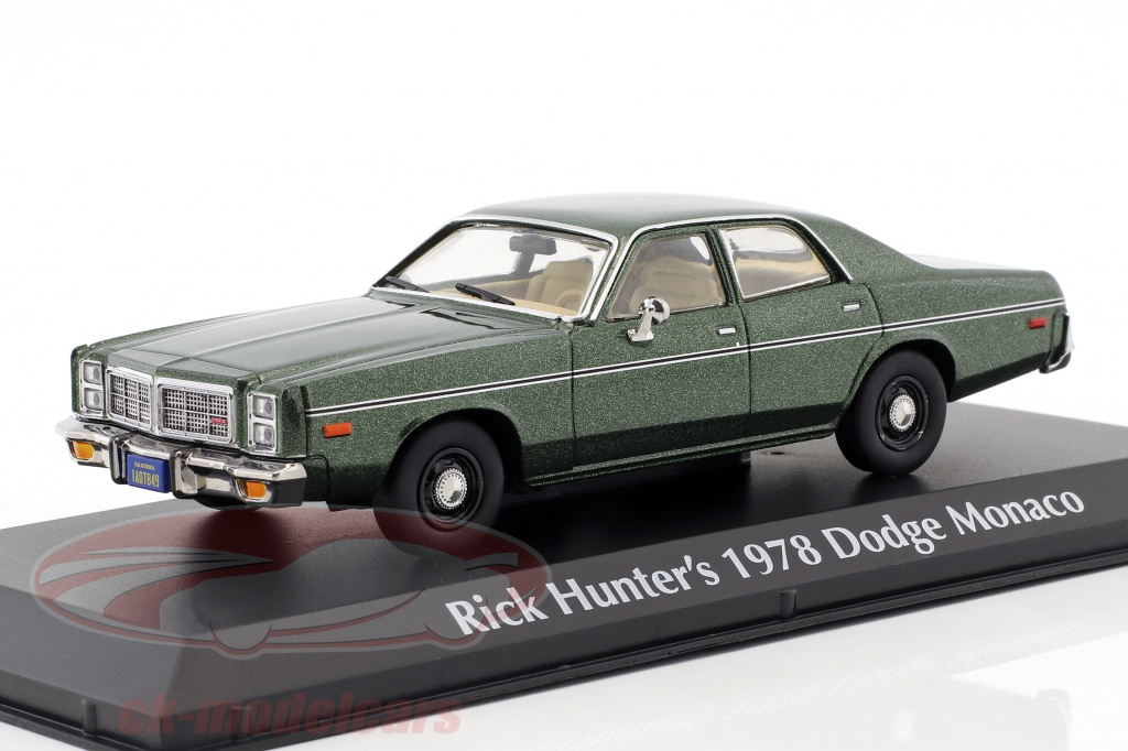 greenlight-1-43-rick-hunters-dodge-monaco-annee-de-construction-1978-serie-tv-hunter-1984-1991-vert-metallique-86537/