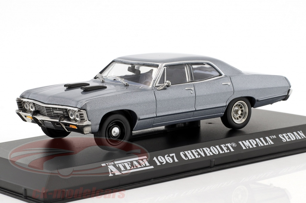 greenlight-1-43-chevrolet-impala-sport-sedan-opfrselsr-1967-tv-serie-den-a-team-1983-87-bl-gr-86527/