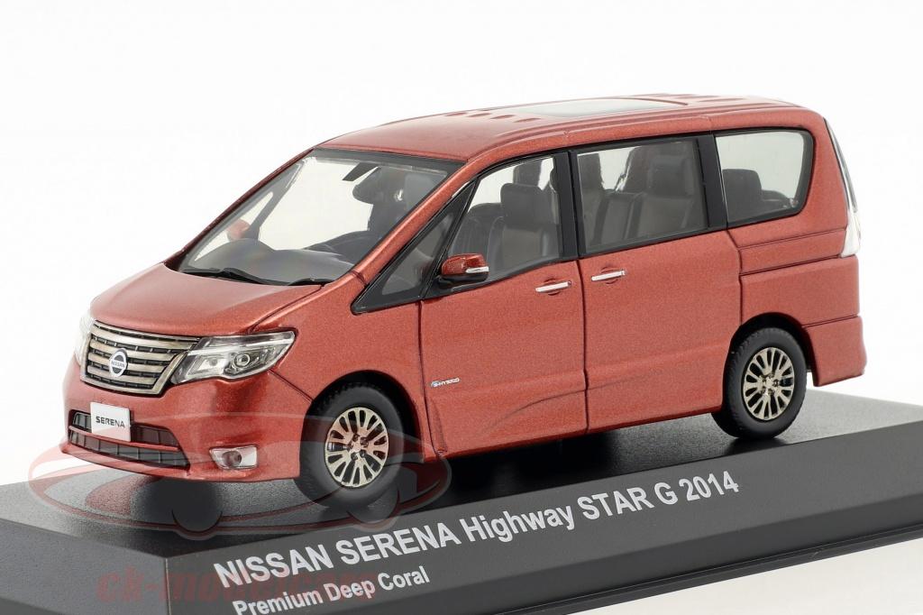 kyosho-1-43-nissan-serena-mini-fourgonnette-highway-star-g-annee-de-construction-2014-corail-rouge-metallique-03871pdc/