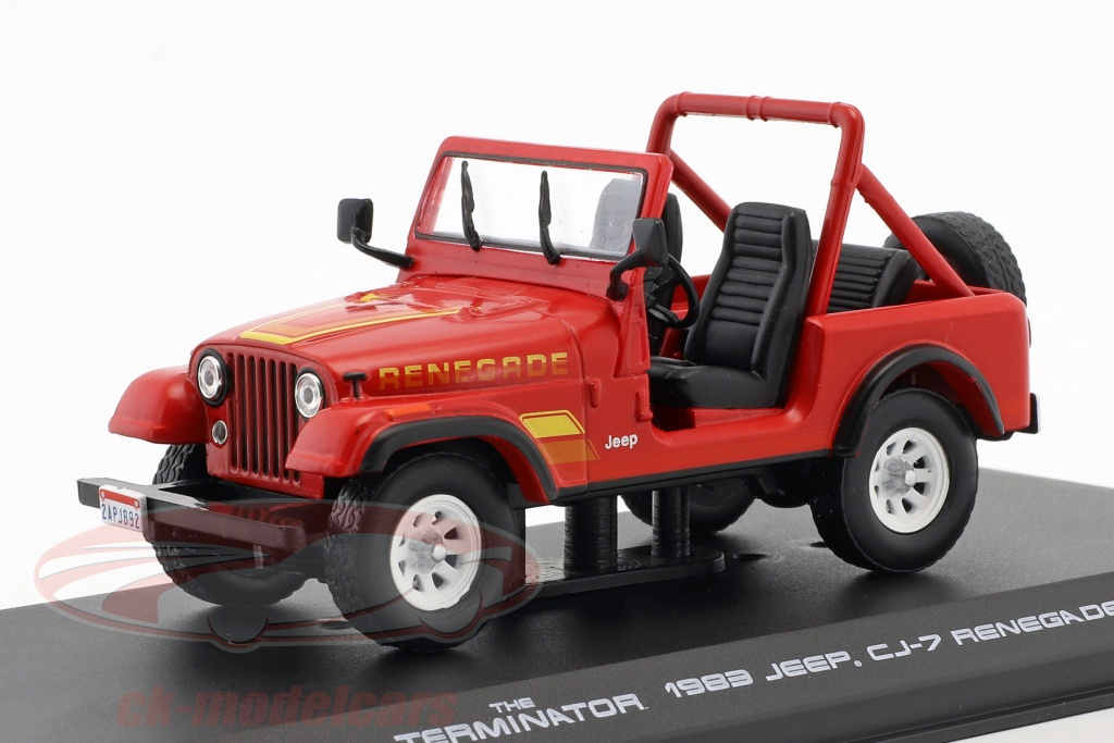 greenlight-1-43-sarah-conners-jeep-cj-7-annee-de-construction-1983-film-terminator-1984-rouge-86533/