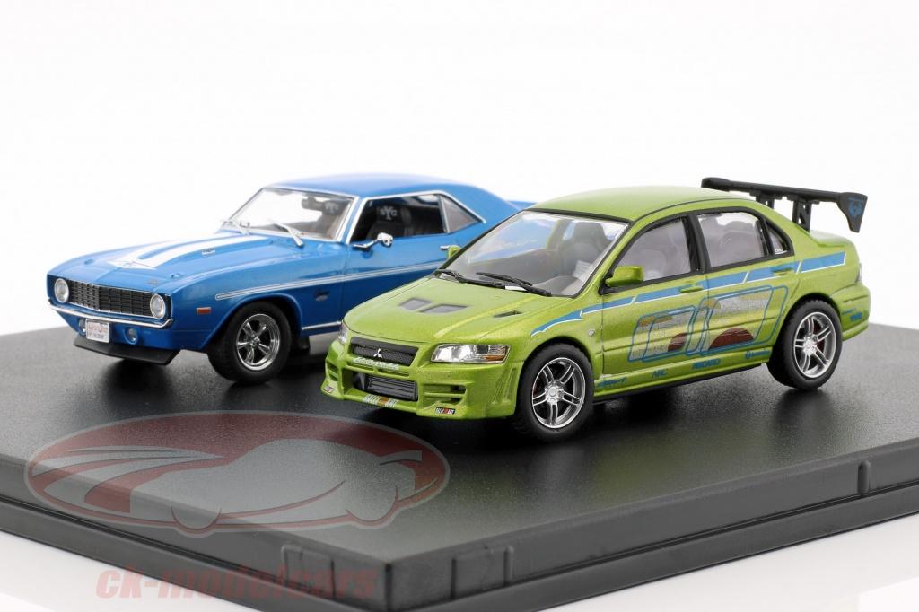 greenlight-1-43-fast-and-furious-2-car-ensemble-chevrolet-camaro-et-mitsubishi-lancer-86253/