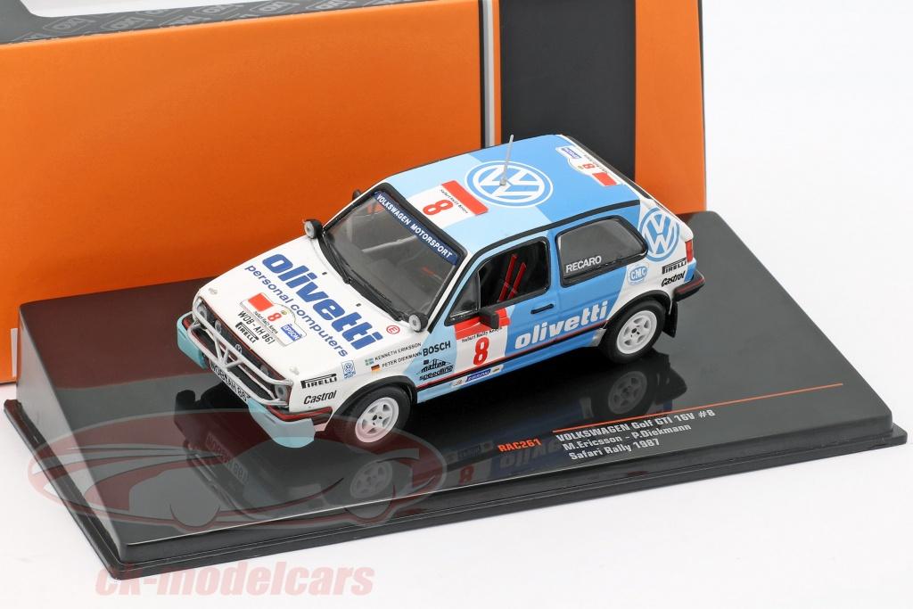 ixo-1-43-volkswagen-vw-golf-gti-16v-no8-safari-rallye-1987-eriksson-diekmann-rac261/