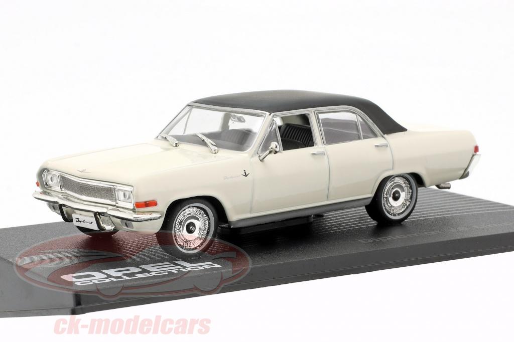 ixo-1-43-opel-diplomat-v8-limousine-baujahr-1964-weiss-mit-schwarzem-dach-altaya-mag-cl04/