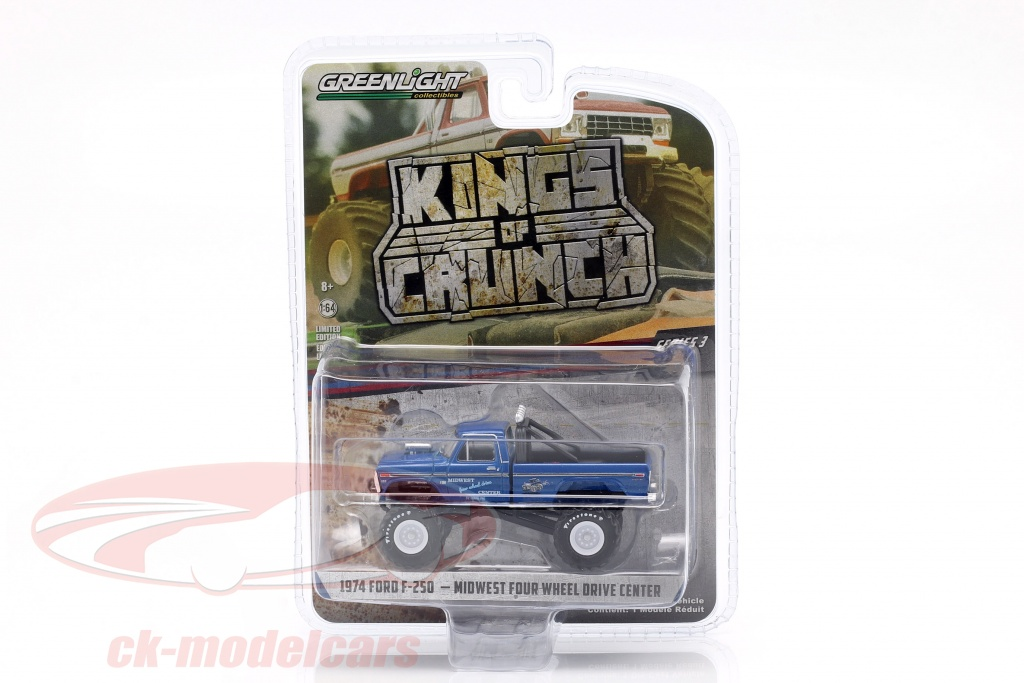 greenlight-1-64-ford-f-250-monster-truck-kings-of-crunch-ano-de-construccion-1974-azul-49030-a/