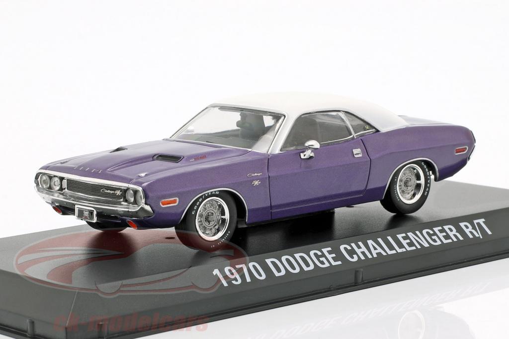 greenlight-1-43-dodge-challenger-r-t-ano-de-construccion-1970-programa-de-television-graveyard-carz-puesto-2012-violeta-blanco-86553/