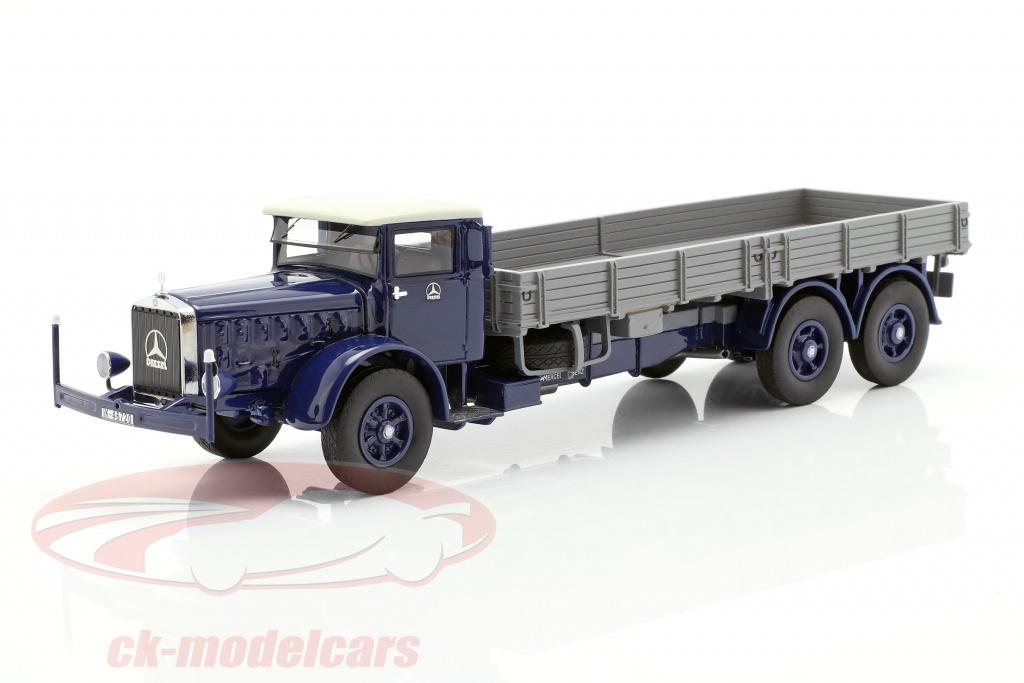 neo-1-43-mercedes-benz-l-10000-camion-plate-forme-annee-de-construction-1937-bleu-fonce-gris-neo46720/