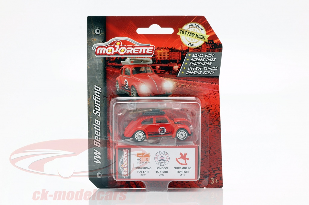 majorette-1-64-volkswagen-vw-escarabajo-con-tabla-de-surf-toy-fair-2019-rojo-212052016to9/