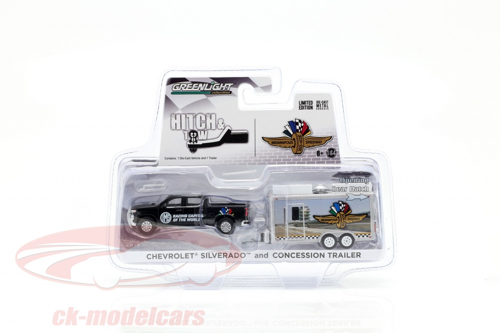 greenlight-1-64-chevrolet-silverado-e-concessione-trailer-indycarseries-nero-argento-30034/