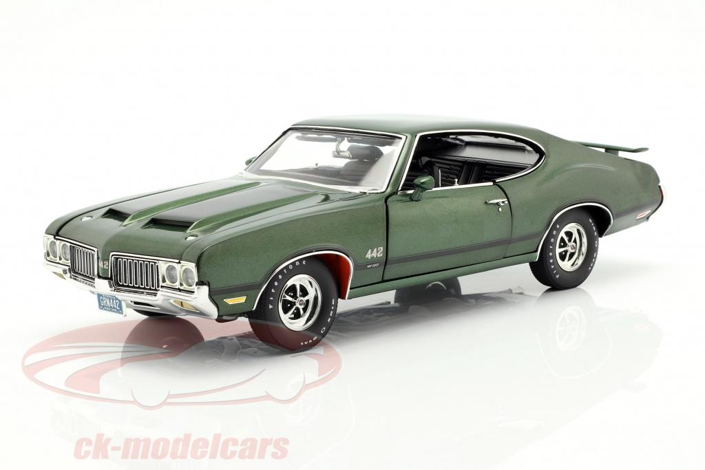 gmp-1-18-oldsmobile-442-w-30-annee-de-construction-1970-vert-noir-a1805612/