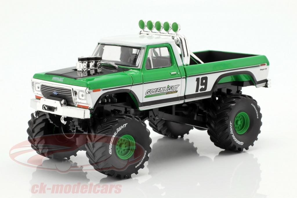 greenlight-1-43-ford-f-250-monster-truck-annee-de-construction-1974-vert-blanc-86161/