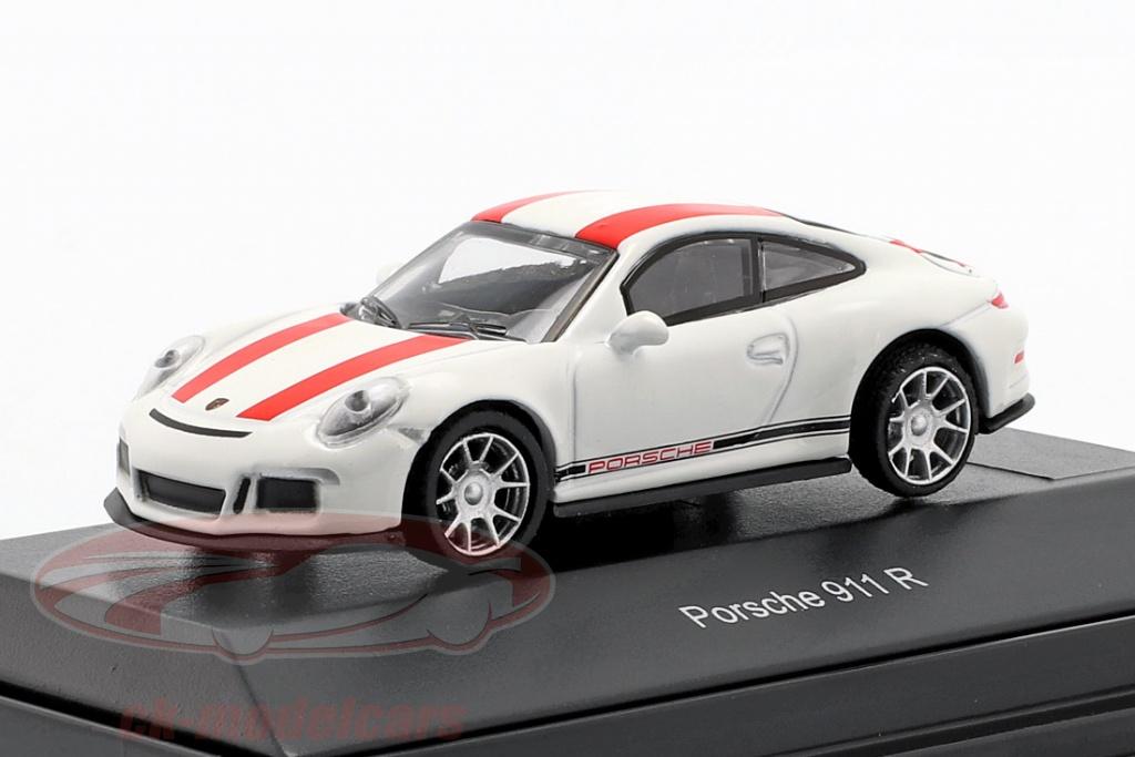 schuco-1-87-porsche-911-991-r-annee-de-construction-2016-blanc-avec-rouge-rayures-452629900/