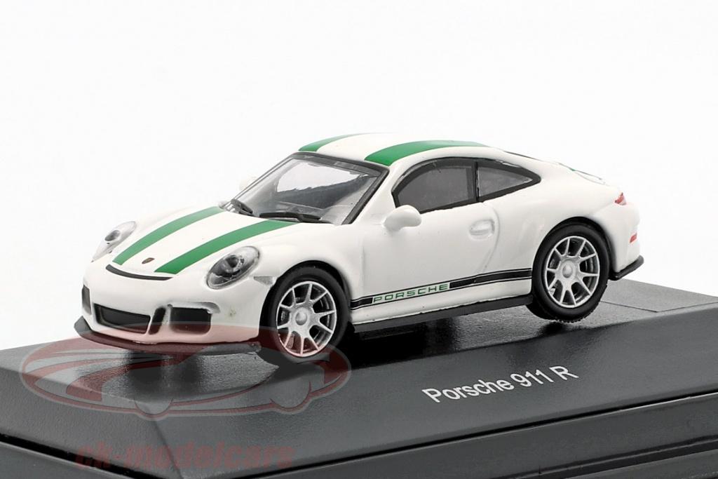 schuco-1-87-porsche-911-991-r-anno-di-costruzione-2016-bianco-con-verde-strisce-452630000/