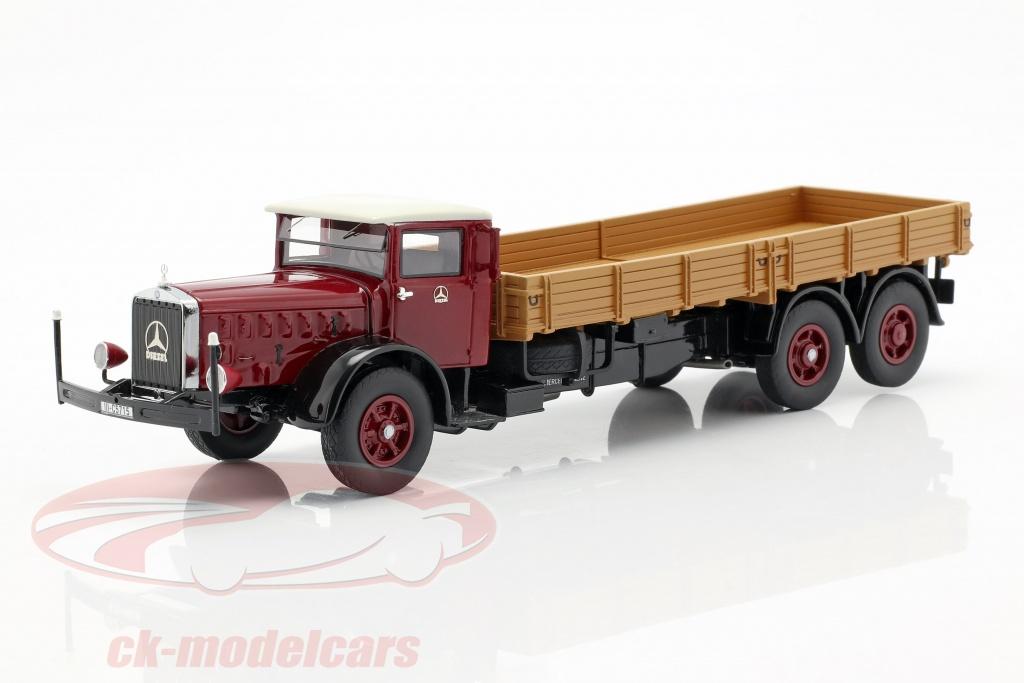 neo-1-43-mercedes-benz-l-10000-platform-truck-bouwjaar-1937-donker-rood-beige-neo46721/