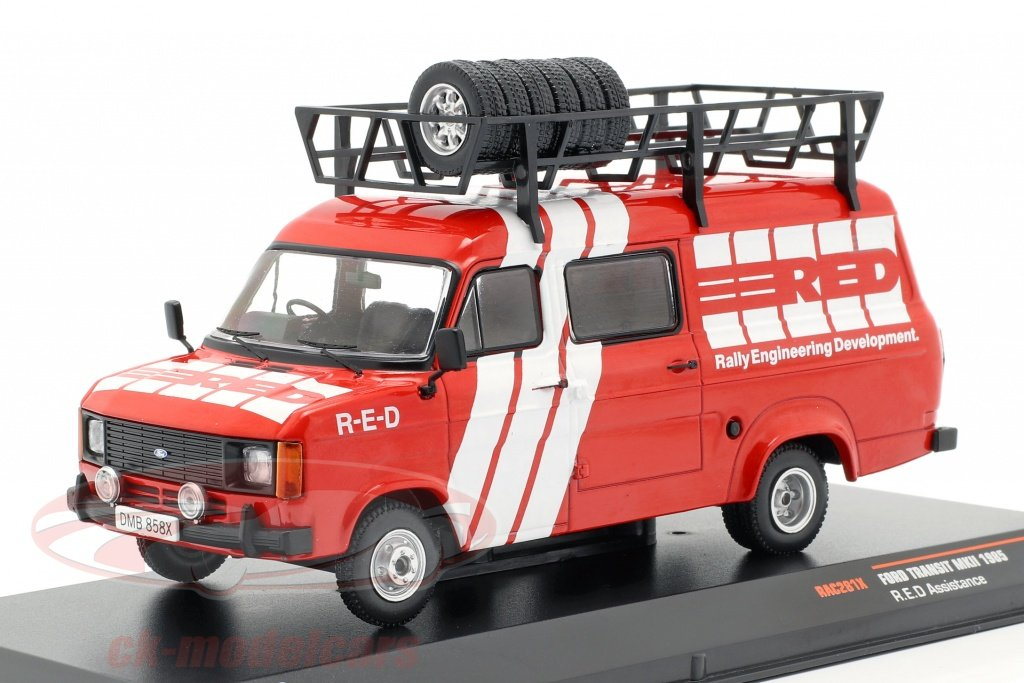 ixo-1-43-ford-transit-mk-ii-opfrselsr-rallye-assistance-red-1985-rd-hvid-rac281x/