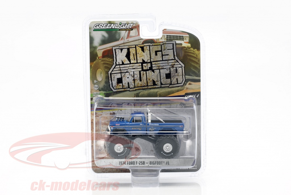 greenlight-1-64-ford-f-250-monster-truck-bigfoot-no1-annee-de-construction-1974-bleu-49040-a/