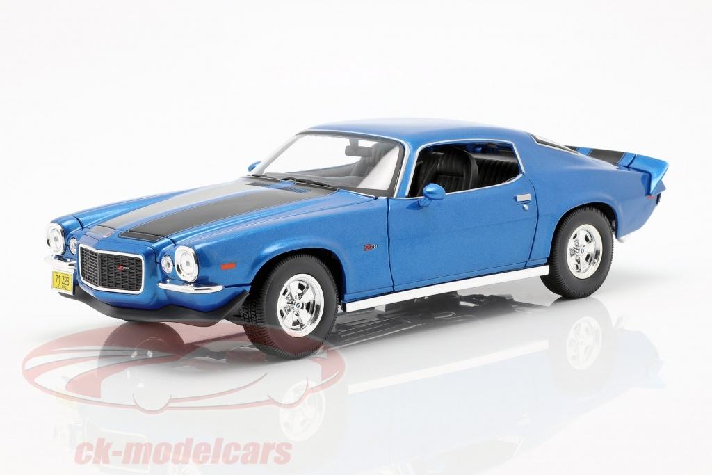 maisto-1-18-chevrolet-camaro-anno-di-costruzione-1971-blu-metallico-nero-31131b/