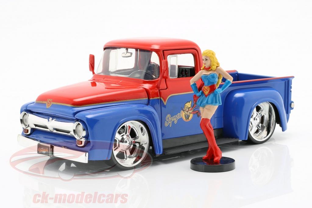 jadatoys-1-24-ford-f-100-pick-up-anno-di-costruzione-1956-con-supergirl-dc-comics-rosso-blu-253255008/