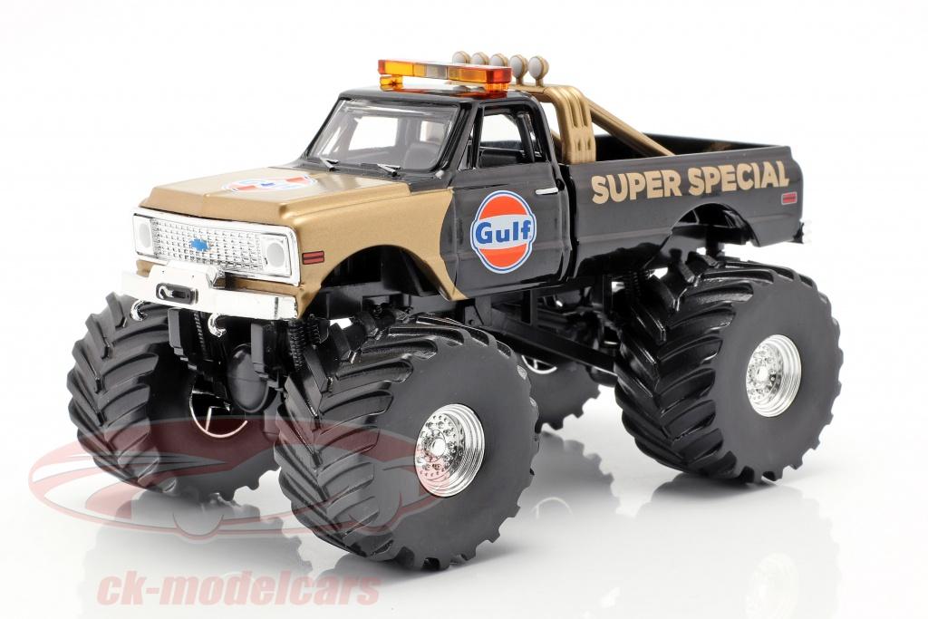 greenlight-1-43-chevrolet-k-10-gulf-super-special-monster-truck-1971-negro-oro-88013/