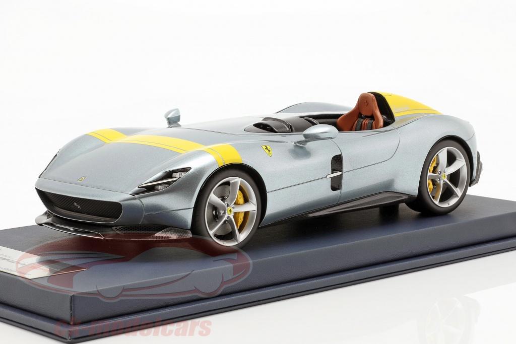 looksmart-1-18-ferrari-monza-sp1-afficher-moteur-paris-2018-gris-metallique-jaune-avec-vitrine-ls18-021a/