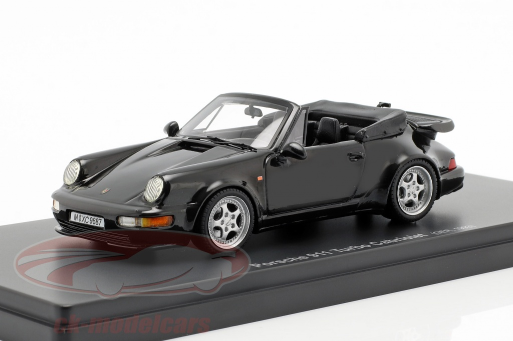 autocult-1-43-porsche-911-964-turbo-cabriolet-opfrselsr-1993-sort-60031/