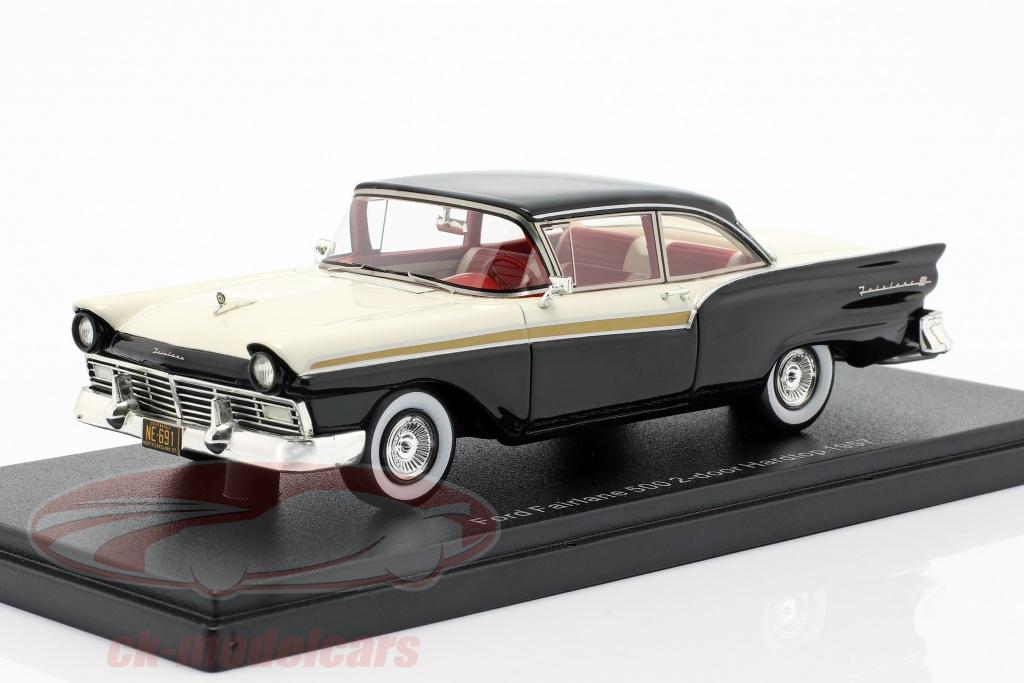 neo-1-43-ford-fairlane-500-2-door-hardtop-opfrselsr-1957-sort-hvid-neo46091/