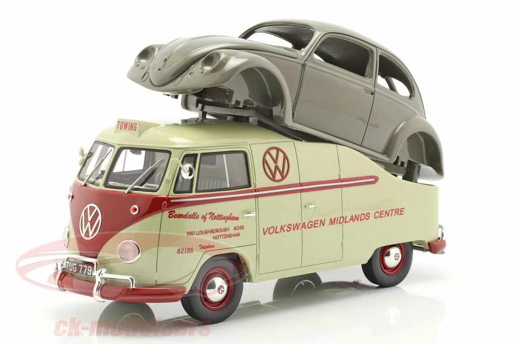 schuco-1-18-volkswagen-vw-t1a-bus-con-brezelkaefer-corpo-beige-rosso-grigio-450016300/