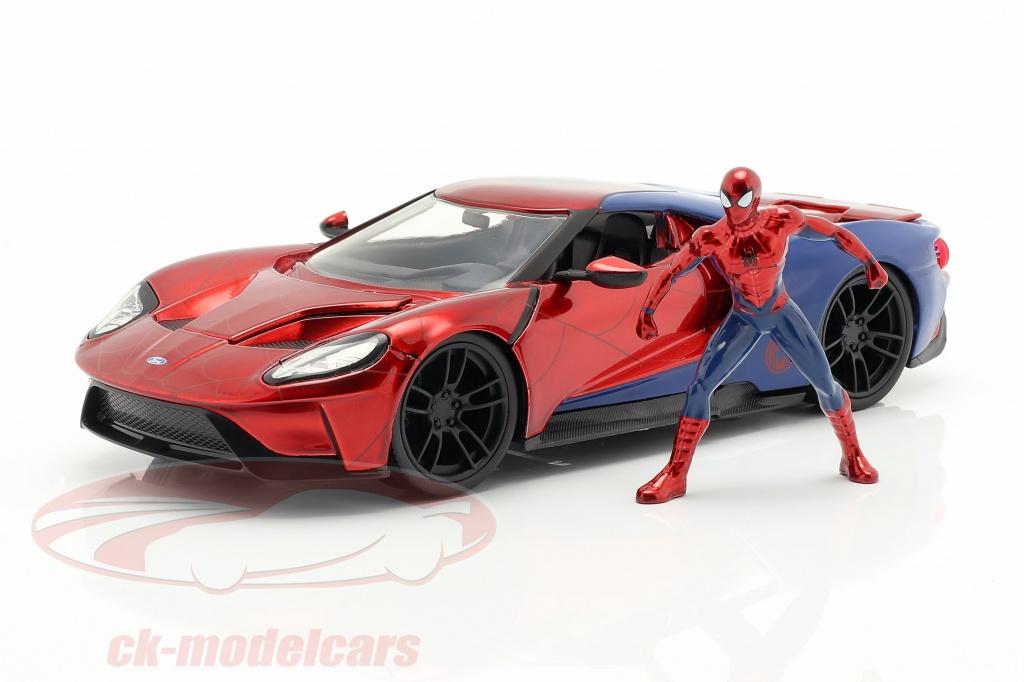 jadatoys-1-24-ford-gt-2017-con-cifra-film-spider-man-2017-rosso-blu-253225002/