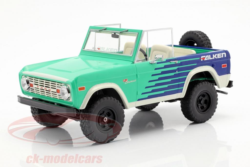 greenlight-1-18-ford-bronco-falken-tires-anno-di-costruzione-1976-verde-blu-bianco-19070/