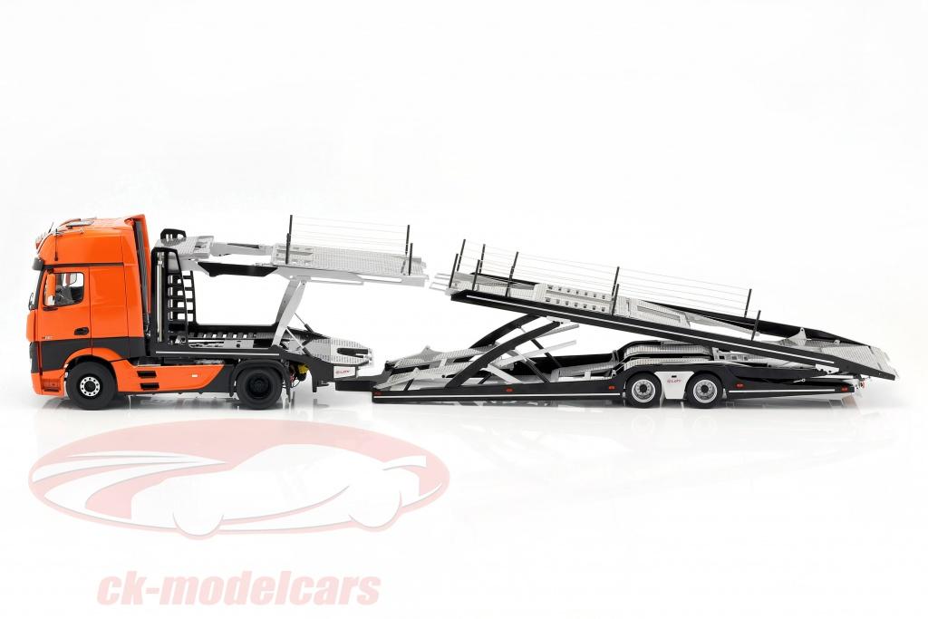 nzg-1-18-set-mercedes-benz-actros-with-lohr-car-transporter-orange-silver-971-lx971000-9921-65-lm99210065/