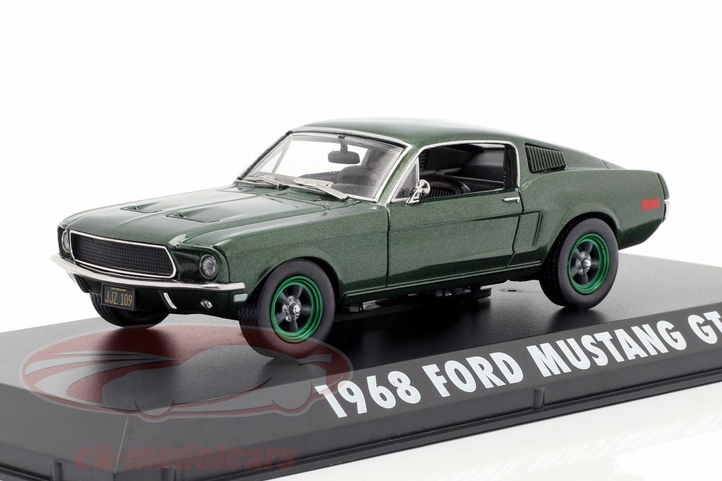 greenlight-1-43-ford-mustang-gt-opfrselsr-1968-film-bullitt-1968-grn-metallisk-grn-flge-86431-gruene-felgen/